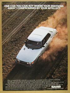 1983 Saab 900 APC Turbo white car photo vintage print Ad