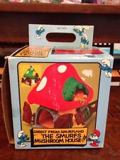Vintage 1974 Peyo Schleich Smurfs Mushroom House W Imperfect Original Box