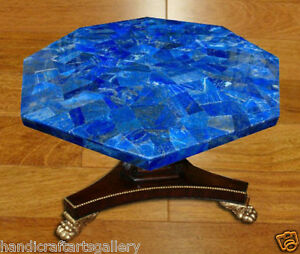 """24"""" Black Marble Coffee Table Top Lapis Lazuli Inlay Stone Living Decorate H2032"""