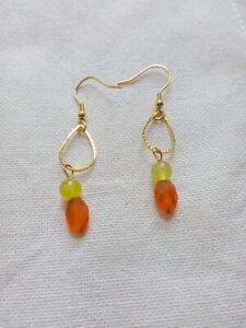 Faceted Carnelian and Yellow Jade Drop Dangle Earrings