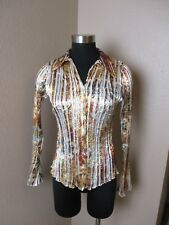 Komarov Blouse Button Front Long Sleeve Print Size Small S