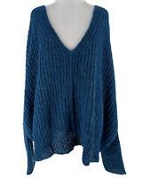 Free People Women's Dream Lagoon Blue Moonbeam V-Neck Sweater Size Large NEW