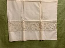 Vintage Ecru/Ivory Linen Pillowcase with Floral Crochet Inset