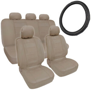 Beige PU Leather Car Seat Covers GripDrive Steering Wheel Cover Stitched
