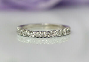 Hidalgo Rope Stackable Diamond Eternity Band Ring 18K White Gold, Estate S 5.5