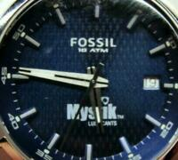 Fossil Mystik Lubricant 10ATM WR Blue Dial Silver T Bracelet Date Watch New Batt
