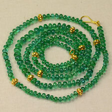 3.2mm-6mm Finest Zambian Emerald Plain Rondelle Bead Necklace 18K Solid Gold