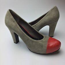 Nine West Nastro Suede Pumps Size 5.5M Cap Almond Toe High Heels Shoes