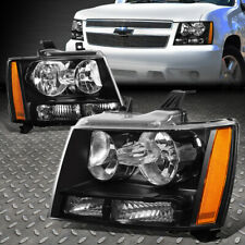 For 07-14 Chevy Tahoe Suburban Black Housing Amber Corner Headlight Head Lamps