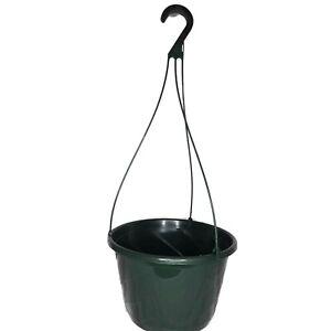 "10"" Diameter GREEN HANGING BASKETS (set of 5) plastic CONTEMPO SWIRL flower pots"