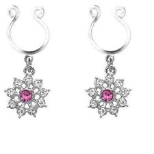 Dangle Non Pierce sold as pair Nipple Ring Bars Cz Rhinestone Flower