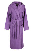 Purple Luxury Hooded Bath Robe Women 100% Terry Cotton Toweling Dressing Gown