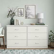 Classic 6 Drawer Dresser White Finish Storage Organizer Bed Furniture Clothes