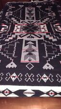 "Pendleton Beaver State Blanket Black Gray Red Double Sided Reversible 62"" X 80"""