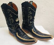 Vintage Alex Ostrich Boots Made In Mexico 8 1/2 with Braiding