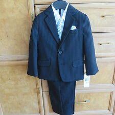 Boys Van Heusen 4 piece suit black pinstripe size 4 regular brand new NWT $75