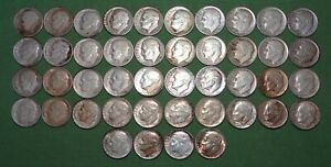 LOT OF 44 SILVER ROOSEVELT DIMES  1946-1964