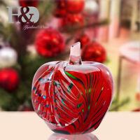 H&D Glaze Red Crystal Apple Paperweight Figurine Hand Blown Art Gift Home Decor