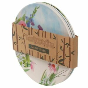 Botanical gardens bamboo plate set of 4