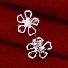 *UK* 925 Silver Plt Hollow Daisy Flower Stud Earrings Poppy Petals Lucky Clover