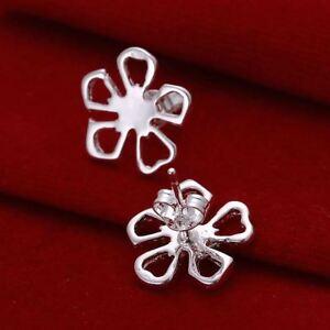 *UK* Silver Plated Hollow Daisy Flower Stud Earrings Poppy Petals Lucky Clover