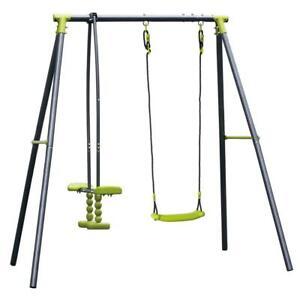 Kids Childrens Outdoor Garden Swing And Seesaw Set Playground Fun Toy Activity