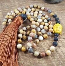 6MM natural gemstone Crazy Lace Agate 108 Mala necklaces knotted yoga tassel
