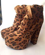 Leopard Animal Print Platform Heels Lace Up Boots 5 Winter Rockabilly Punk Goth