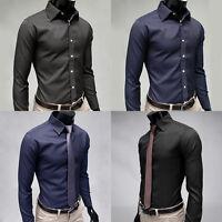 Men's Classic Striped Shirt Long Sleeve Slim Fit Fashion Causal Bussiness Shirts