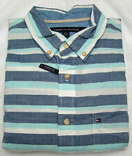 Tommy Hilfiger Aqua Sky Blue Stripe Ario Classic Fit Shirt - Size Large