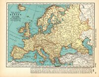 1936 Antique EUROPE Map 1930s Vintage Map of Europe Gallery Wall Art 8300