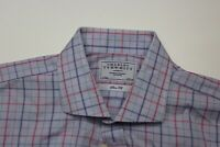 Charles Tyrwhitt London Pink Blue Green Check LONG SLEEVE SHIRT 17 x 35 XL Slim