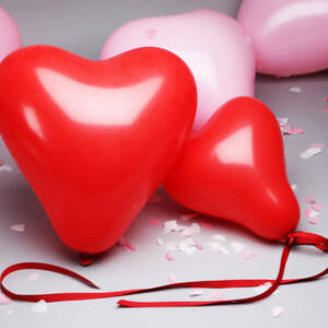 25 pk Red & White Heart Shape Balloons Valentines Special baloons Decorations
