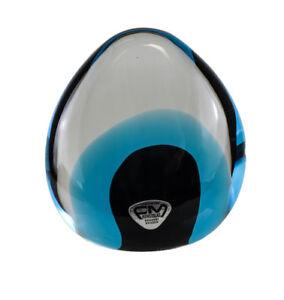 FM Konstglas Ronneby Sweden Art Glass Paperweight, Deep to aqua blue ovoid shape