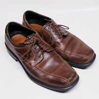 ECCO Men's Lace-up Brown Leather Casual Dress Shoes Shock Point Size 44(US 11)