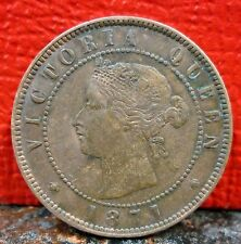 Higher Grade Single Year 1871 Prince Edward Island Canada One Penny KM# 4