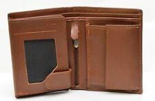 Men's Genuine Real Cowhide Leather Wallet Brown Long Coin Pocket 3 Year Warranty