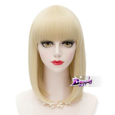 Lolita 40CM Light Blonde Wavy Hair Lolita Women Fashion Anime Cosplay Wig + Cap