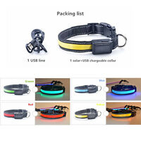 Adjustable Solar Power Rechargeable LED Light Flashing Pet Cat Dog Safety Collar