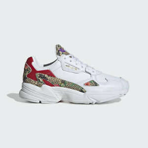 New Adidas Women's Originals Falcon Shoes (FV3083)  White//Scarlet-Gold Metallic