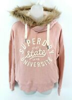 SUPERDRY Womens Hoodie Jumper XS Pink Acrylic Modacrylic & Polyester