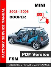 2002 2003 2004 2005 2006 MINI COOPER S CONVERTIBLE SERVICE REPAIR SHOP MANUAL