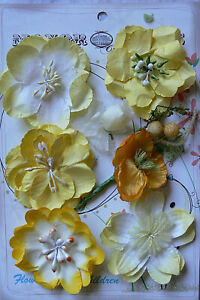 YELLOW GOLD WHITE Co-ordinating Mix Group 1 x 7 Ea Flowers PAPER 15-50mm MH ConB