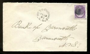 p1713 - WEST PUBNICO NS 1899 Split Ring on Cover to Dartmouth. QV 2c Numeral