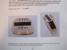 J196 mans 14K gold black jade 8 diamond ring