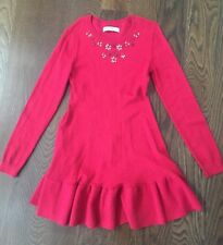EUC Abercrombie Kids Red Embellished Sweater Dress 11/12 Holiday
