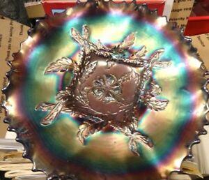 Electric Dugan Cobalt Blue CARNIVAL Glass Apple Blossom TWIGS ICS Low Bowl
