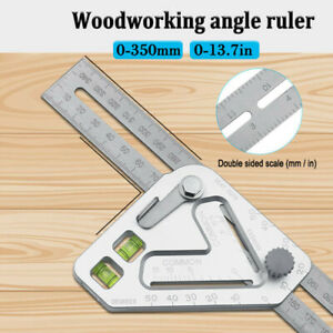 Multifunctional Carpenter Tools Woodworking Ruler Angle Ruler with Spirit Level