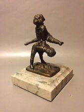 Alfred Barye Style Leapfrog Bronze Sculpture Vintage Antique Marble Art Deco