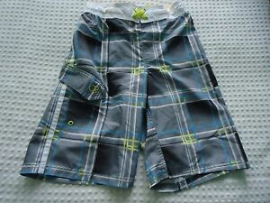 Boy's  Large 10-12 OP Ocean Pacific Long Leg Gray & Yellow Plaid  Swim Trunks